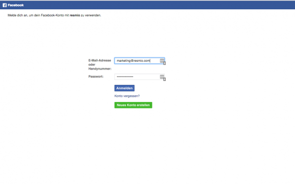 2. resmio facebook integration login 1