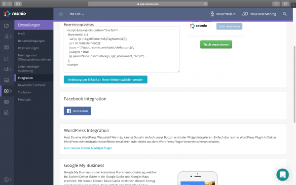 1. resmio facebook integration button