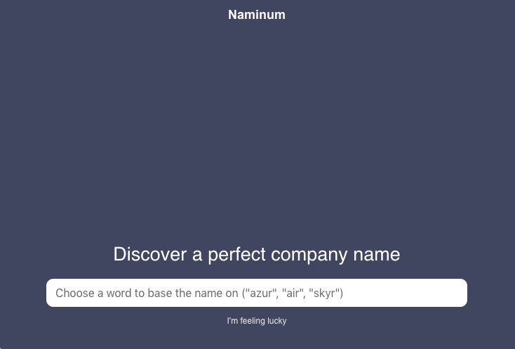naminum hilft bei der Namensfindung
