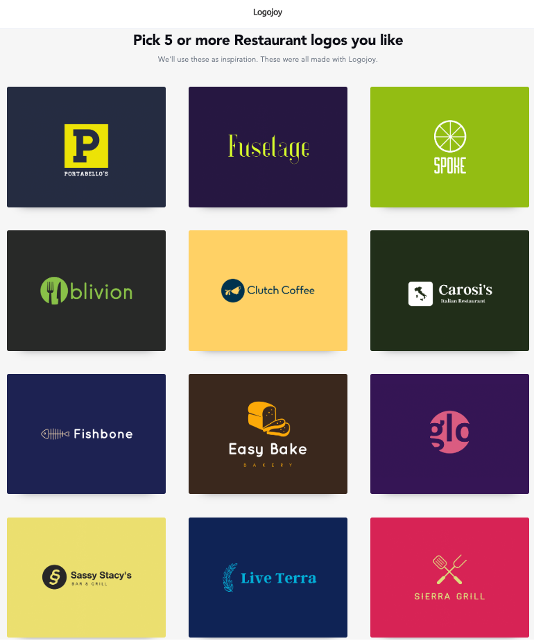 Logojoy schlägt Logos passend zum Restaurantnamen vor