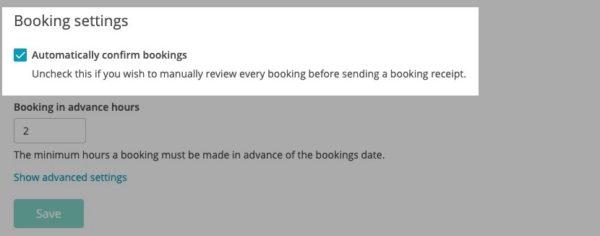 Booking settings