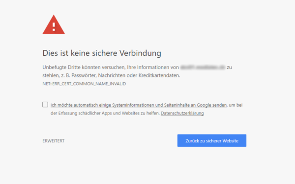 Google Chrome Warnmeldung HTTP-Verbindung