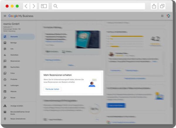 Bewertungslink für Google erhalten