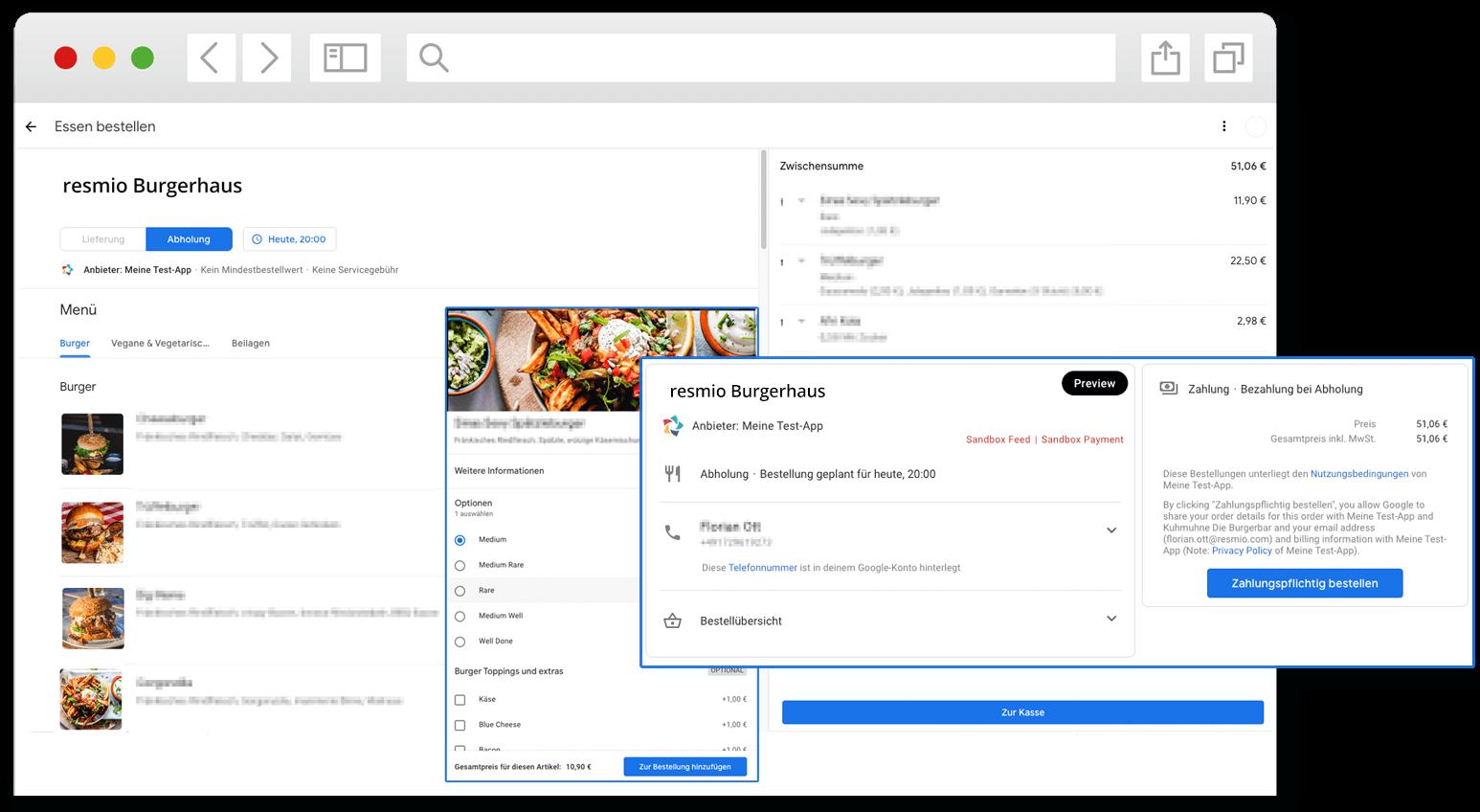 Browser Google Food Ordering