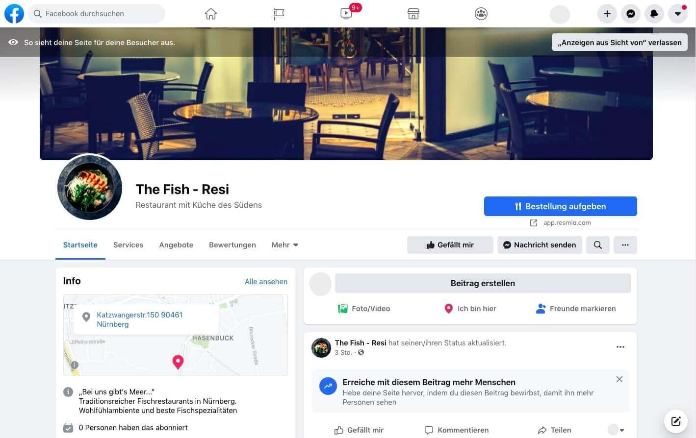 Facebook Integration Vorschau