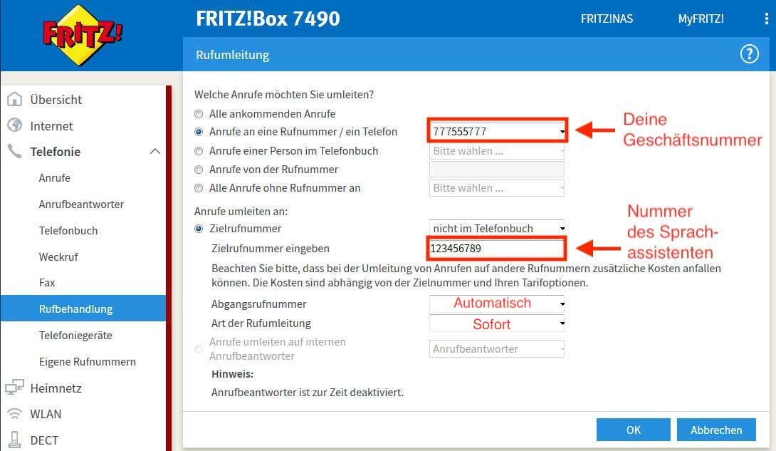 Rufumleitung einrichten für Telefonassistenten  FAQ » resmio