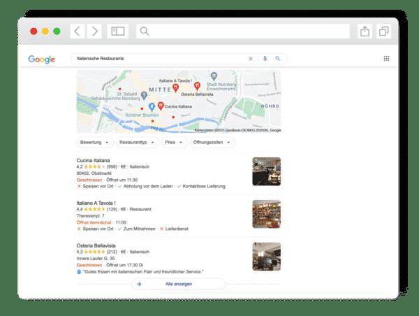 """Darstellung Suchergebnisse im Local Pack für """"Italienisches Restaurants"""""""
