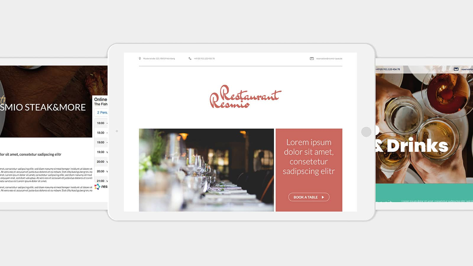 resmio free website dining design demo