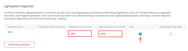 Lightspeed Integration aktivieren